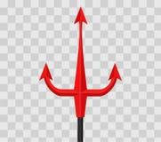 Трёхзубец красного дьявола на прозрачной checkered предпосылке также вектор иллюстрации притяжки corel Стоковое Изображение RF