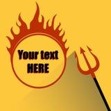 Трёхзубец с огнем ада на желтой предпосылке Стоковая Фотография