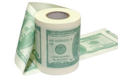 Туалетная бумага доллара Стоковое Изображение