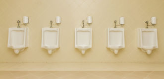 Туалеты туалетов человека 5 писсуара чистые публично Стоковые Фото