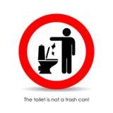 Туалет нет мусорного бака, знака вектора Стоковые Фотографии RF