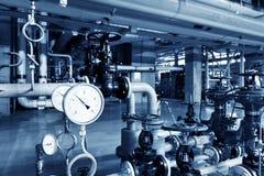 Тубопровод и инструментирование электрической станции тепловой мощности стоковые фотографии rf