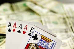 тузы 4 вручают покер Стоковое Фото