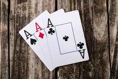 Тузы - 3 из покера вида Стоковое Фото