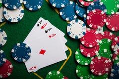 туз 4 в игре в покер Стоковые Изображения