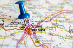 Тулуза на карте стоковая фотография