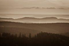 туманнейшие горы стоковое фото rf