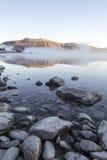 Туманное озеро Tekapo восхода солнца, южный остров, Новая Зеландия Стоковые Фотографии RF