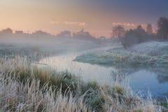 туманное река утра Стоковая Фотография