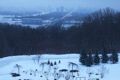 Туманное утро в Kyiv Дома прячут в тумане разветвляет зима взгляда вала снежка ели Стоковая Фотография RF