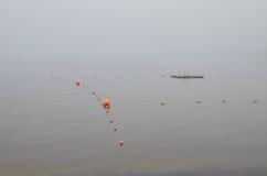 Туманное утро на пляже заплывания стоковое фото rf