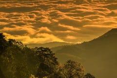 Туманные горы и свет утра стоковые фотографии rf