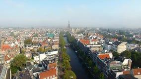 Туманный Амстердам, осматривает сверху сток-видео