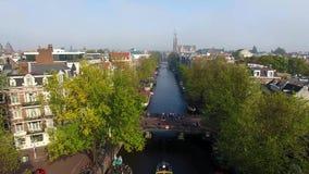 Туманный Амстердам, осматривает сверху акции видеоматериалы