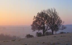 Туманный восход солнца на откалывать Campden, Cotswolds, Gloucestershire, Англию стоковое фото