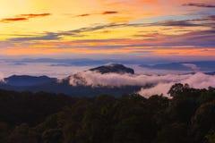 туманный восход солнца утра в горе на северном Таиланде Стоковое Изображение