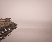 Туманный день на Charlestown, пристань Мэриленда Стоковая Фотография RF