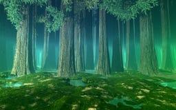 Туманный лес с гигантскими елями, холмами, все еще мочит и зеленеет перспективу воздуха Стоковые Фото