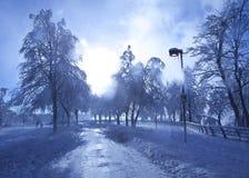 Туманный лед покрыл дорогу на Ниагарском Водопаде Стоковое фото RF