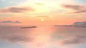 Туманный заход солнца над озером гор акции видеоматериалы