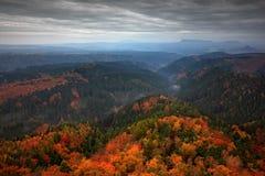 Туманный ландшафт во время осени Красивый ландшафт с камнем, лесом и туманом Заход солнца в чехословакском национальном парке Ces Стоковая Фотография
