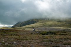Туманный ландшафт в Dovrefjell, Норвегии стоковые фото