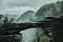 Туманный туманный ландшафт brana Pravcicka ворот Pravcicka самый большой естественный свод песчаника в Европе стоковая фотография rf