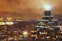 Туманный маяк утра Стоковое Фото