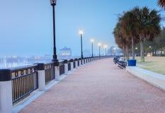 Туманный портовый район Чарлстона Южной Каролины утра Стоковое Изображение RF