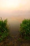 Туманный рассвет на озере Стоковое Изображение