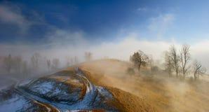 Туман в горном селе Стоковое фото RF