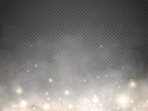 Туман или дым с светом зарева изолировали прозрачный специальный эффект вектор иллюстрация штока