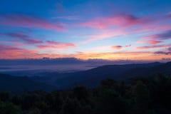 Туман моря и красочное небо Стоковое Изображение RF