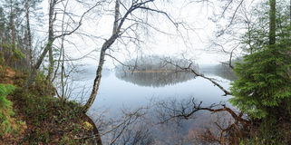 Туман на озере осени Стоковые Фотографии RF
