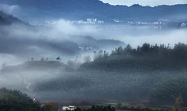 Туман осени горы стоковое фото