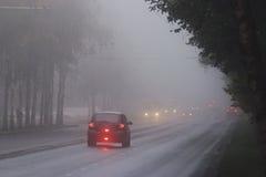 Туман осени на дороге города стоковое изображение