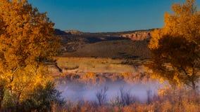 Туман под красными скалами стоковые фотографии rf