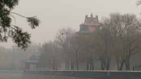 Туман района и загрязнения парка Китая запретного города акции видеоматериалы