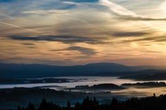 Туман утра в долине богемского рая Стоковое Фото
