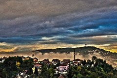 Туман утра в Сараеве Стоковые Изображения RF