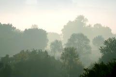 Туман утра в сельском Италии. Романо Ponzano стоковая фотография rf