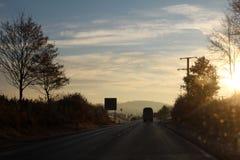 Туман утра на дороге Стоковые Изображения RF