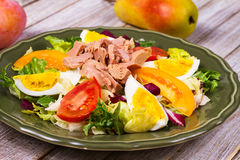 туна переднего салата фокуса селективная Рыбы, яичка и vegetable салат Стоковые Изображения