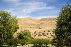 Турбина генератора энергии ветра сельской стороны страны современная зеленая Стоковое Фото