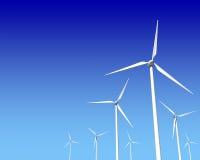Турбины генератора ветра над голубым небом Стоковые Изображения RF