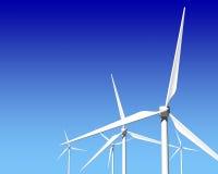 Турбины генератора ветра над голубым небом Стоковое Изображение