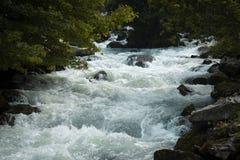 Турбулентные речные пороги белой воды - Норвегия стоковые фотографии rf