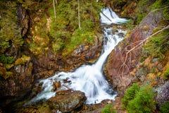 Турбулентный водопад в национальном парке Tatra, Польше Стоковая Фотография RF