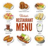 Турецкая еда кухни и традиционные блюда иллюстрация вектора