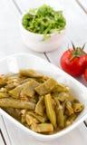 Турецкая еда, зеленая фасоль с маслом и томат Стоковая Фотография RF